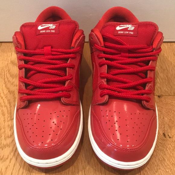 Nwot Nike Sb Dunk Low Pro Red Patent